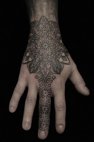 Finger Hand Dotwork Tattoo by Black Ink Power