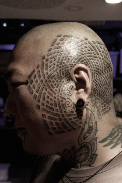 Head Dotwork Tattoo by Black Ink Power