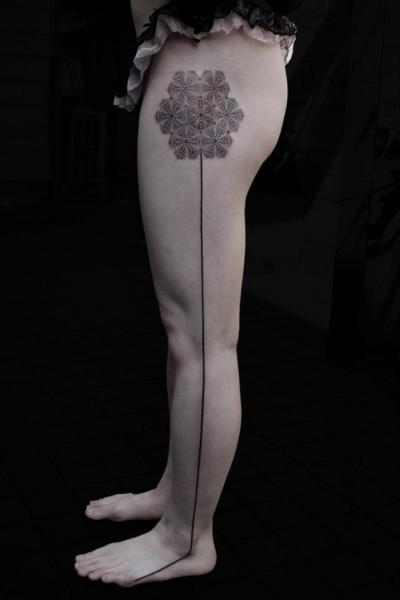 Leg Flower Dotwork Tattoo by Black Ink Power