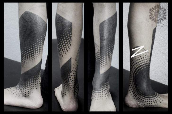 Foot Leg Dotwork Tattoo by Black Ink Power