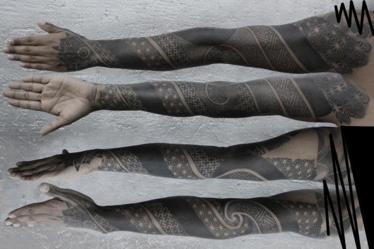 Dotwork Sleeve Tattoo by Black Ink Power
