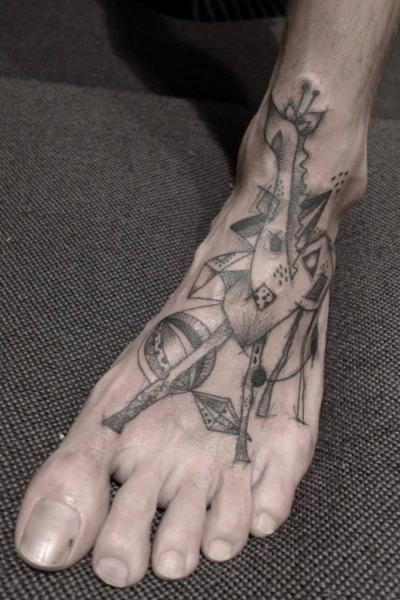 Foot Dotwork Giraffe Tattoo by Black Ink Power