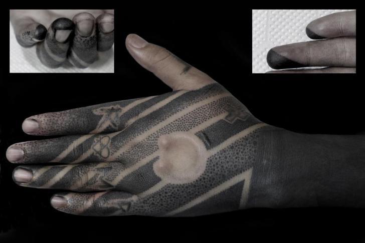 Hand Dotwork Tattoo by Black Ink Power