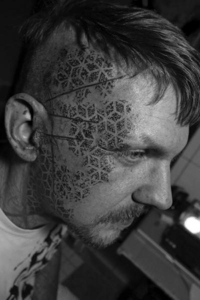Head Dotwork Tattoo by Black Ink Power