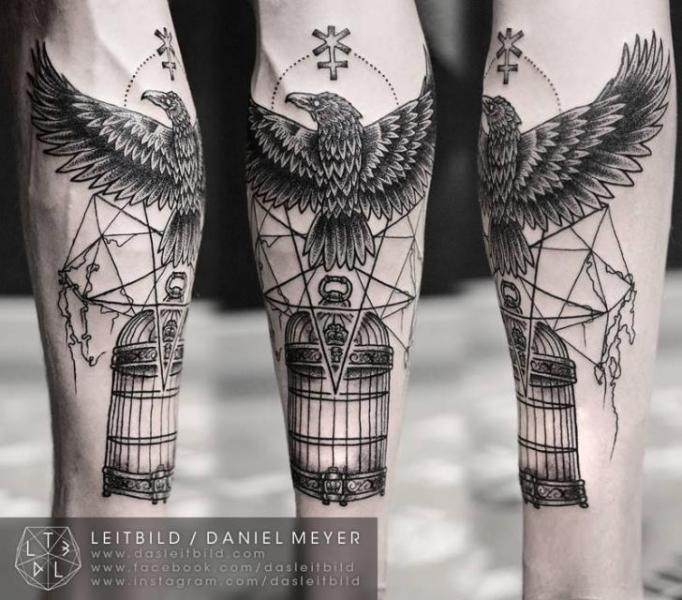 Arm Dotwork Crow Cage Tattoo by Leitbild