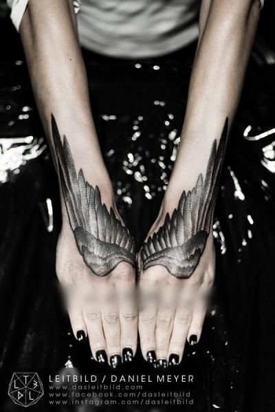 Arm Hand Wings Dotwork Tattoo by Leitbild