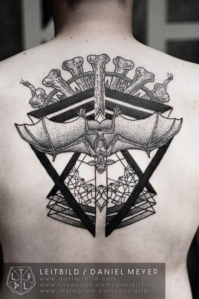 Back Dotwork Bat Bone Tattoo by Leitbild