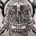 Chest Skull Dotwork tattoo by Leitbild