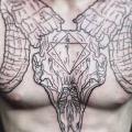 tatuaggio Petto Dotwork di Leitbild