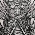 Owl God Dotwork Thigh tattoo by Leitbild