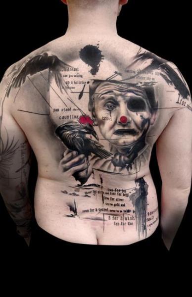 Clown Back Trash Polka Tattoo by Buena Vista Tattoo Club