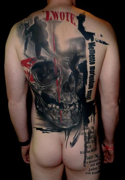 Skull Back Tattoo by Buena Vista Tattoo Club