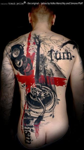Back Trash Polka Tattoo by Buena Vista Tattoo Club