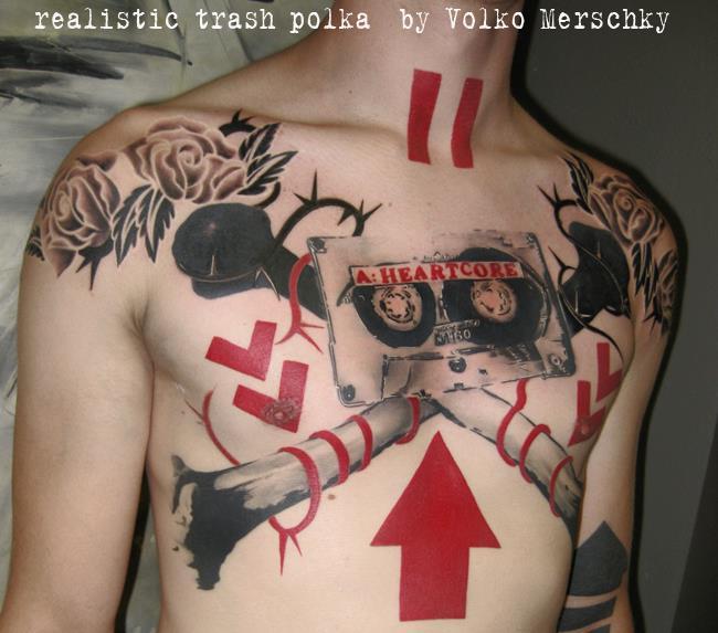 Chest Music Tattoo by Buena Vista Tattoo Club