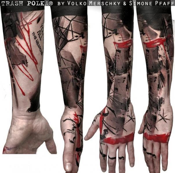 Arm Hand Trash Polka Tattoo by Buena Vista Tattoo Club