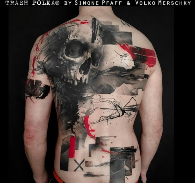 Skull Back Trash Polka Tattoo by Buena Vista Tattoo Club