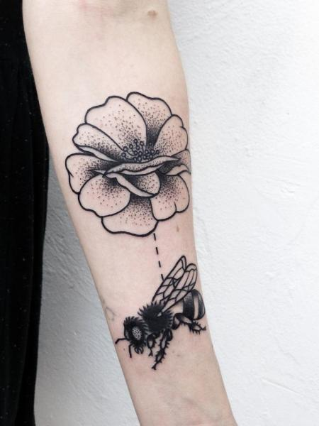 Arm Flower Dotwork Tattoo by Philippe Fernandez