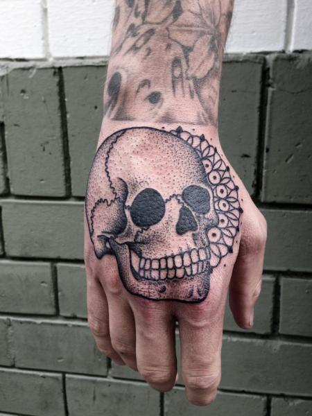 Skull Hand Dotwork Tattoo by Philippe Fernandez