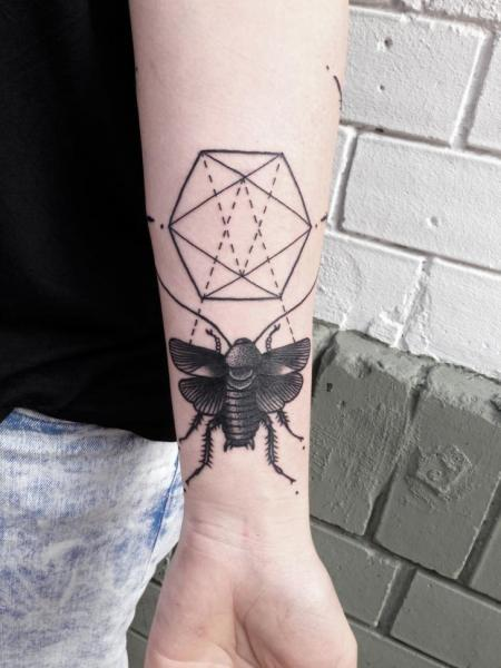 Arm Dotwork Moth Tattoo by Philippe Fernandez