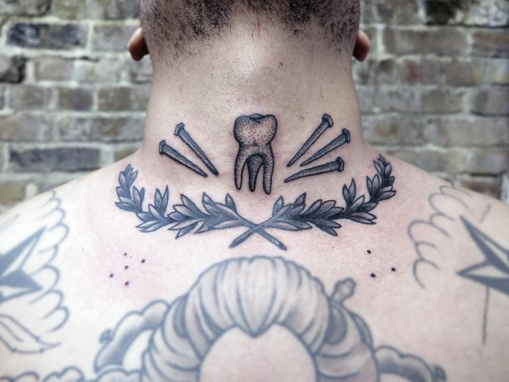 Neck Dotwork Tooth Tattoo by Philippe Fernandez