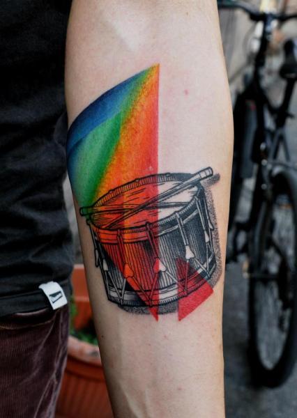 Arm Dotwork Drum Tattoo by Raw Tattoo