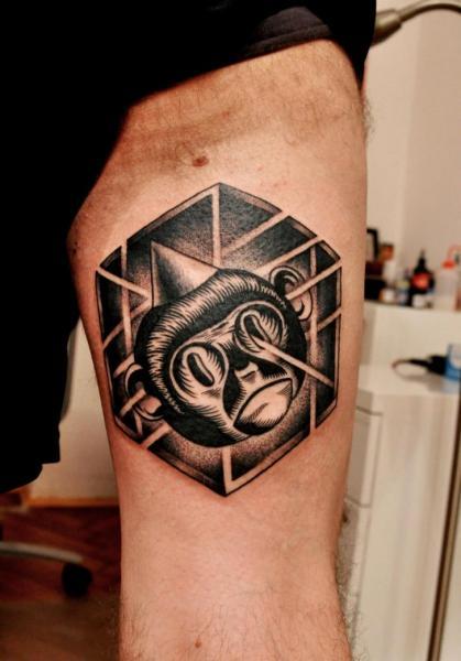 Arm Dotwork Monkey Tattoo by Raw Tattoo