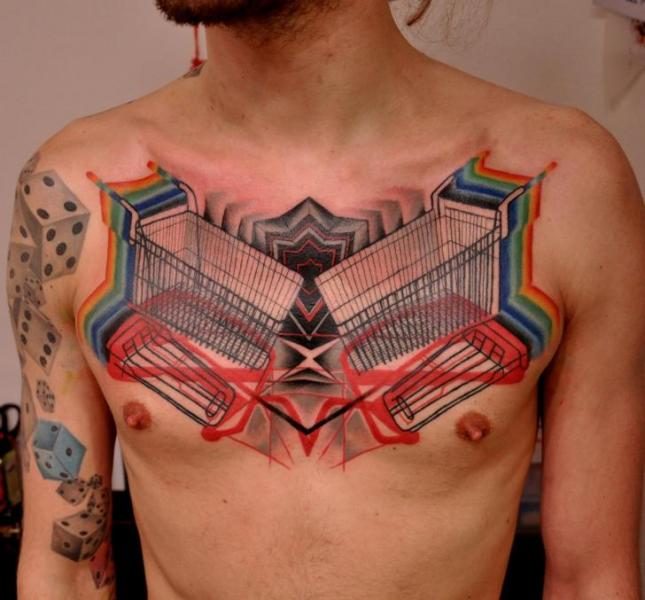 Fantasy Chest Shopping Cart Tattoo by Raw Tattoo