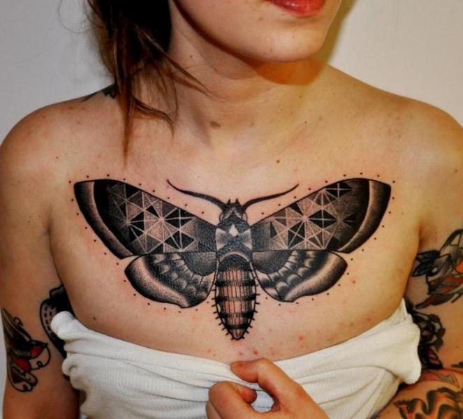 Dotwork Moth Breast Tattoo by Raw Tattoo