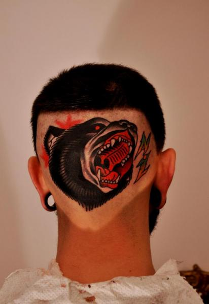 Old School Head Bear Tattoo by Raw Tattoo