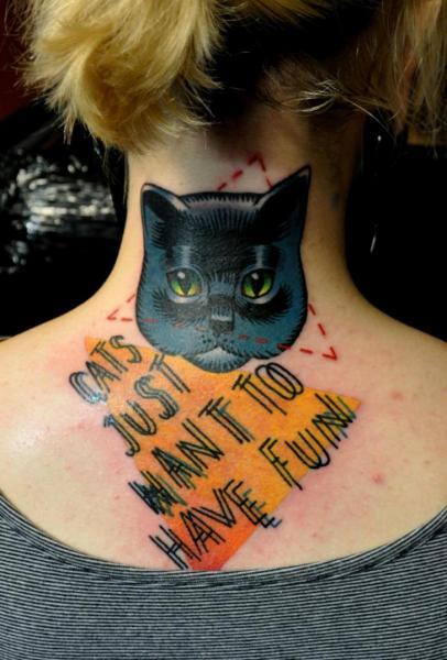Lettering Neck Cat Fonts Tattoo by Raw Tattoo
