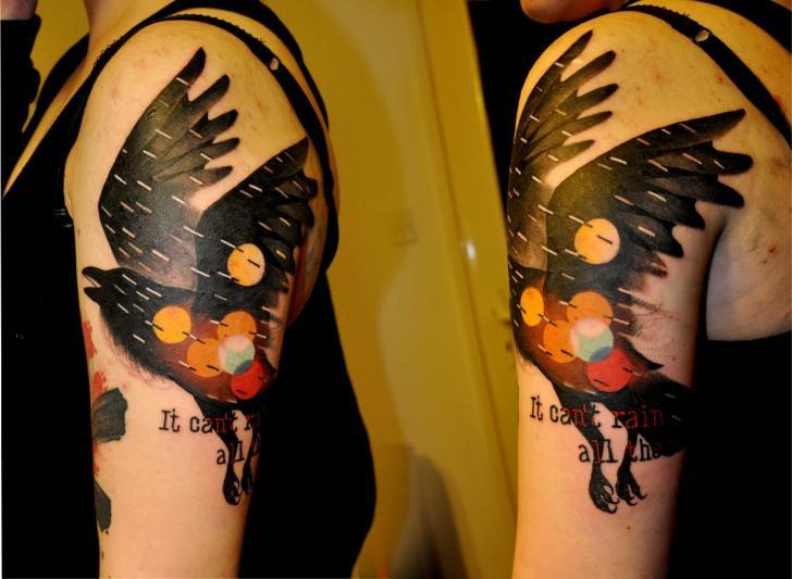 Shoulder Fantasy Bird Tattoo by Raw Tattoo