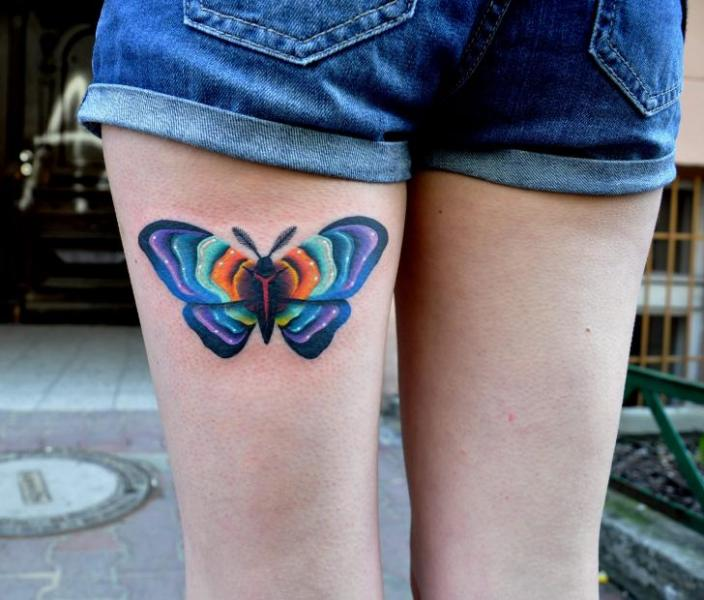 Butterfly Thigh Tattoo by Raw Tattoo