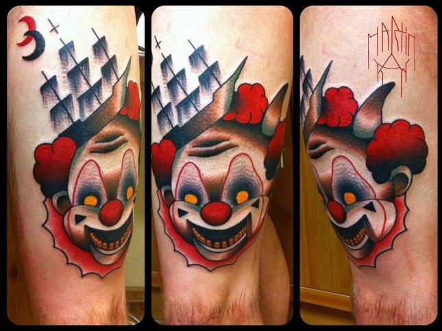 Fantasy Clown Thigh Tattoo by Raw Tattoo