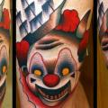 tatuaje Fantasy Payaso Muslo por Raw Tattoo