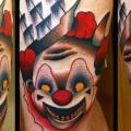 Fantasie Clown Oberschenkel tattoo von Raw Tattoo