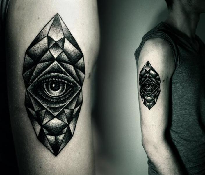 Arm Eye Dotwork Tattoo by Kamil Czapiga