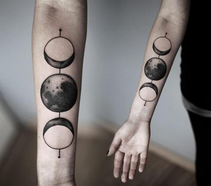 Arm Dotwork Moon Tattoo by Kamil Czapiga