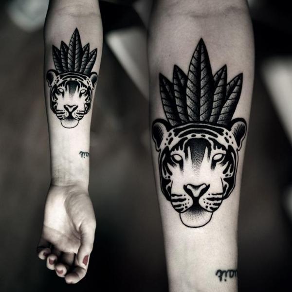 Arm Tiger Dotwork Tattoo by Kamil Czapiga