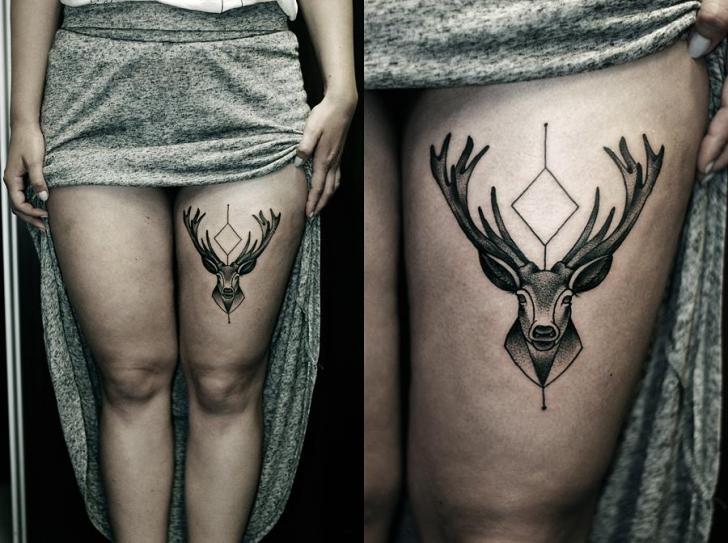 Dotwork Thigh Deer Tattoo by Kamil Czapiga