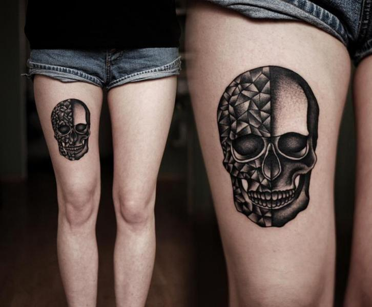 Skull Dotwork Thigh Tattoo by Kamil Czapiga