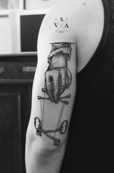 Arm Hand Dotwork Key Tattoo by Master Tattoo