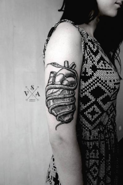 Arm Snake Heart Dotwork Tattoo by Master Tattoo