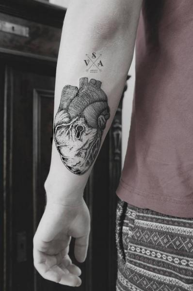 Arm Heart Dotwork Tattoo by Master Tattoo