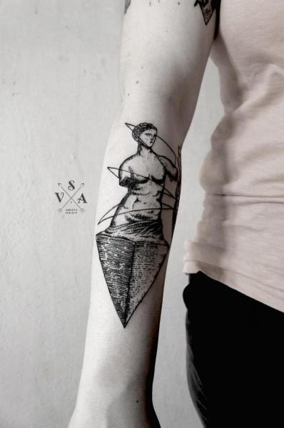 Arm Dotwork Statue Tattoo by Master Tattoo