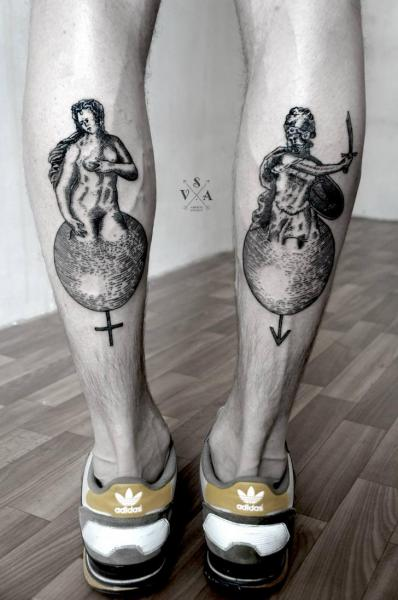 Calf Dotwork Statue Tattoo by Master Tattoo