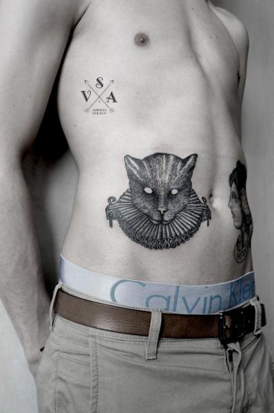 Side Cat Dotwork Tattoo by Master Tattoo