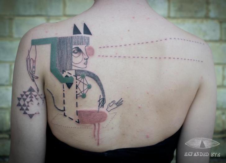 Fantasie Frauen Rücken Tattoo von Expanded Eye