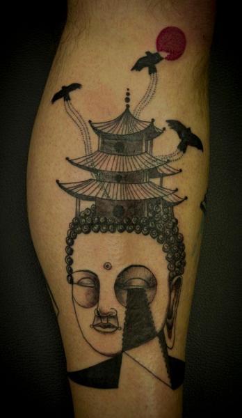 Tatuaggio Fantasy Polpaccio Buddha di Expanded Eye