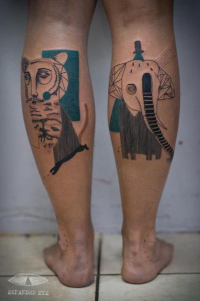 Fantasie Waden Elefant Geometrisch Tattoo von Expanded Eye