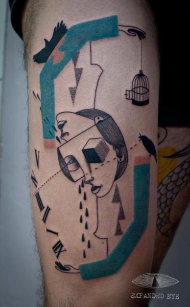 Fantasie Oberschenkel Tattoo von Expanded Eye